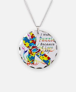 I Wear A Puzzle Because I Lo Necklace
