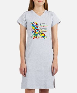 I Wear A Puzzle Because I Love  Women's Nightshirt