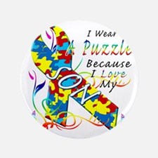 """I Wear A Puzzle Because I Love My Son 3.5"""" Button"""