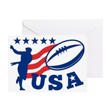 American USA Rugby Player Ball Greeting Card