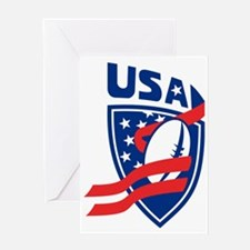 USA American Rugby Ball Shield Greeting Card