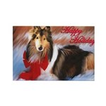 Happy Holidays Collie Rectangle Magnet (10 pack)
