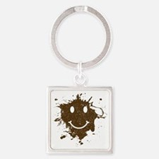 MudSmiley_product Square Keychain