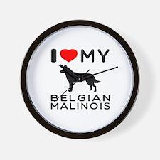 I Love My Belgian Malinois Wall Clock