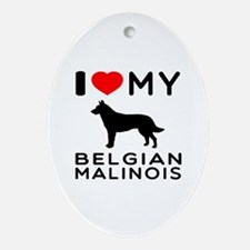 I Love My Belgian Malinois Ornament (Oval)