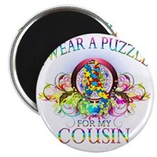 I Wear A Puzzle for my Cousin (floral) Magnet