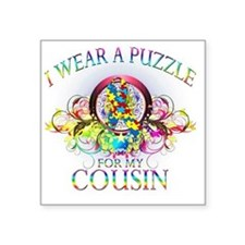 """I Wear A Puzzle for my Cous Square Sticker 3"""" x 3"""""""