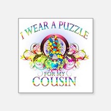 "I Wear A Puzzle for my Cous Square Sticker 3"" x 3"""