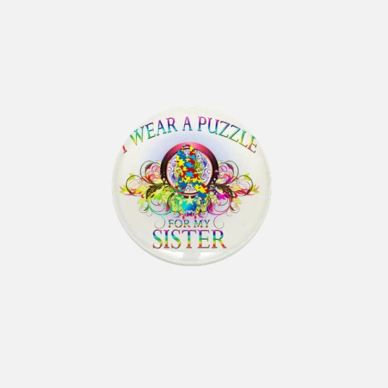 I Wear A Puzzle for my Sister (floral) Mini Button
