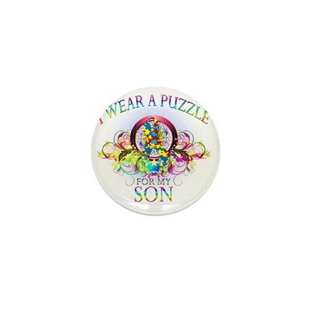 I Wear A Puzzle for my Son (floral) Mini Button