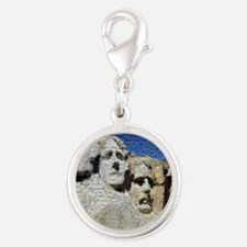 Mount_Rushmore_photomosaic Silver Round Charm