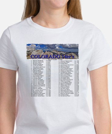 CO 14ers List T-Shirt NO BKGRND Women's T-Shirt