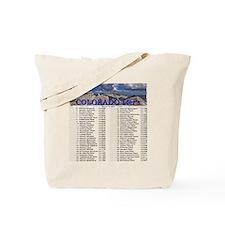 CO 14ers List T-Shirt NO BKGRND Tote Bag