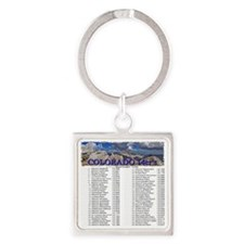 CO 14ers List T-Shirt NO BKGRND Square Keychain