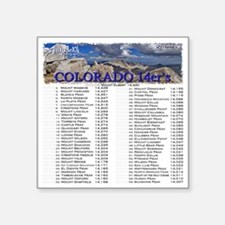 "CO 14ers List T-Shirt NO BK Square Sticker 3"" x 3"""