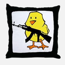 black gun chick Throw Pillow