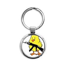 black gun chick Round Keychain