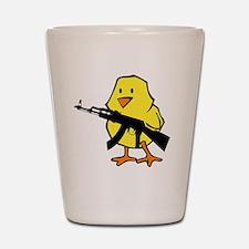 black gun chick Shot Glass