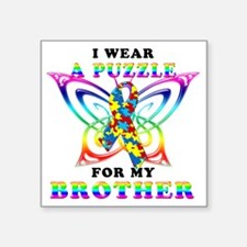 """I Wear A Puzzle for my Brot Square Sticker 3"""" x 3"""""""