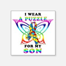 """I Wear A Puzzle for my Son Square Sticker 3"""" x 3"""""""