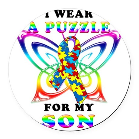 I Wear A Puzzle for my Son Round Car Magnet