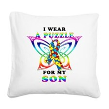 I Wear A Puzzle for my Son Square Canvas Pillow