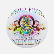I Wear A Puzzle for my Nephew (flor Round Ornament