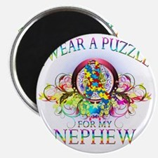 I Wear A Puzzle for my Nephew (floral) Magnet