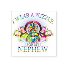 """I Wear A Puzzle for my Neph Square Sticker 3"""" x 3"""""""