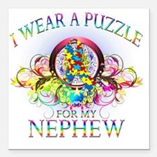 "I Wear A Puzzle for my N Square Car Magnet 3"" x 3"""