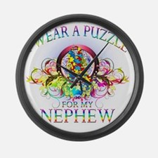 I Wear A Puzzle for my Nephew (fl Large Wall Clock