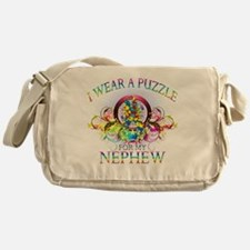 I Wear A Puzzle for my Nephew (flora Messenger Bag