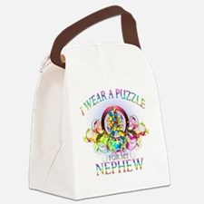 I Wear A Puzzle for my Nephew (fl Canvas Lunch Bag