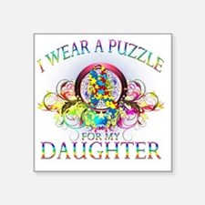 "I Wear A Puzzle for my Daug Square Sticker 3"" x 3"""