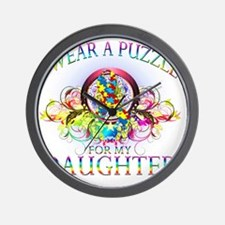 I Wear A Puzzle for my Daughter (floral Wall Clock