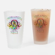 I Wear A Puzzle for my Niece (flora Drinking Glass