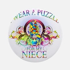 I Wear A Puzzle for my Niece (flora Round Ornament