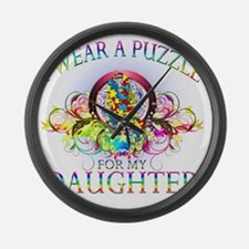 I Wear A Puzzle for my Daughter ( Large Wall Clock