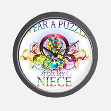 I Wear A Puzzle for my Niece (floral) Wall Clock