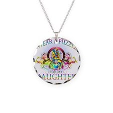 I Wear A Puzzle for my Daugh Necklace Circle Charm