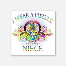 "I Wear A Puzzle for my Niec Square Sticker 3"" x 3"""