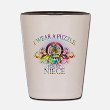 I Wear A Puzzle for my Niece (floral) Shot Glass