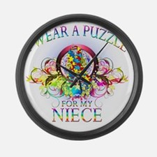 I Wear A Puzzle for my Niece (flo Large Wall Clock