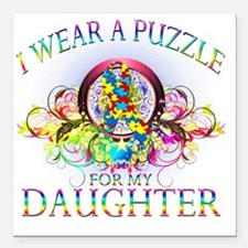 "I Wear A Puzzle for my D Square Car Magnet 3"" x 3"""