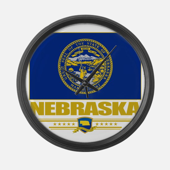 Nebraska (Flag 10) Large Wall Clock