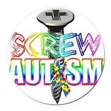 Screw Autism Round Car Magnet