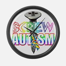 Screw Autism Large Wall Clock