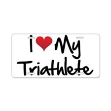I-heart-my-triathlete-hando Aluminum License Plate