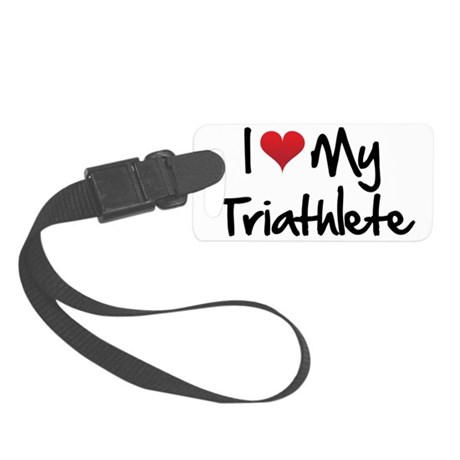 I-heart-my-triathlete-handofsean Small Luggage Tag