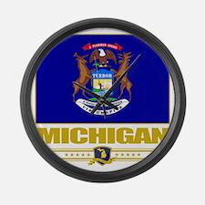 Michigan (Flag 10) Large Wall Clock
